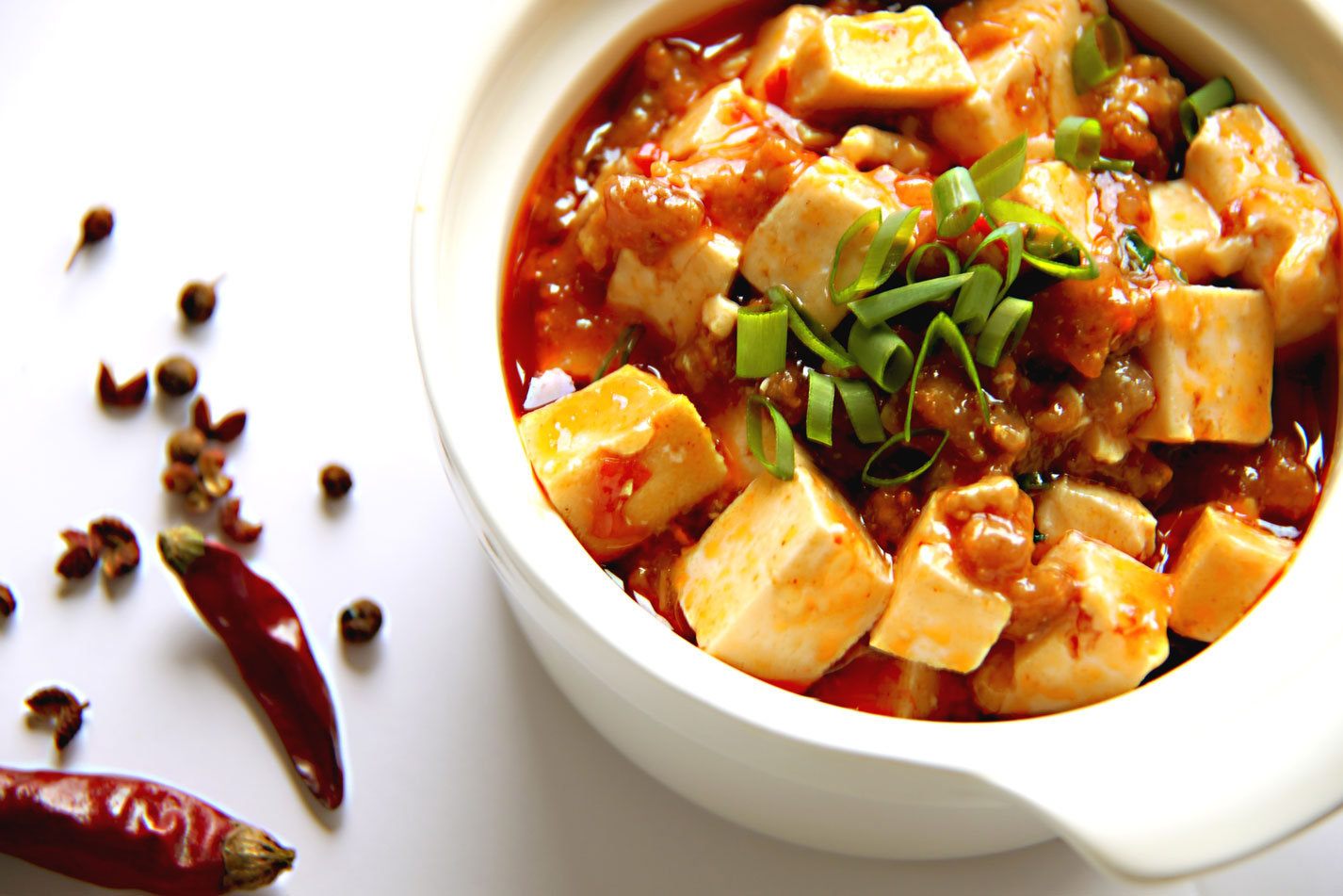 Vegetarian Mapo Tofu With Peas Recipe — Dishmaps