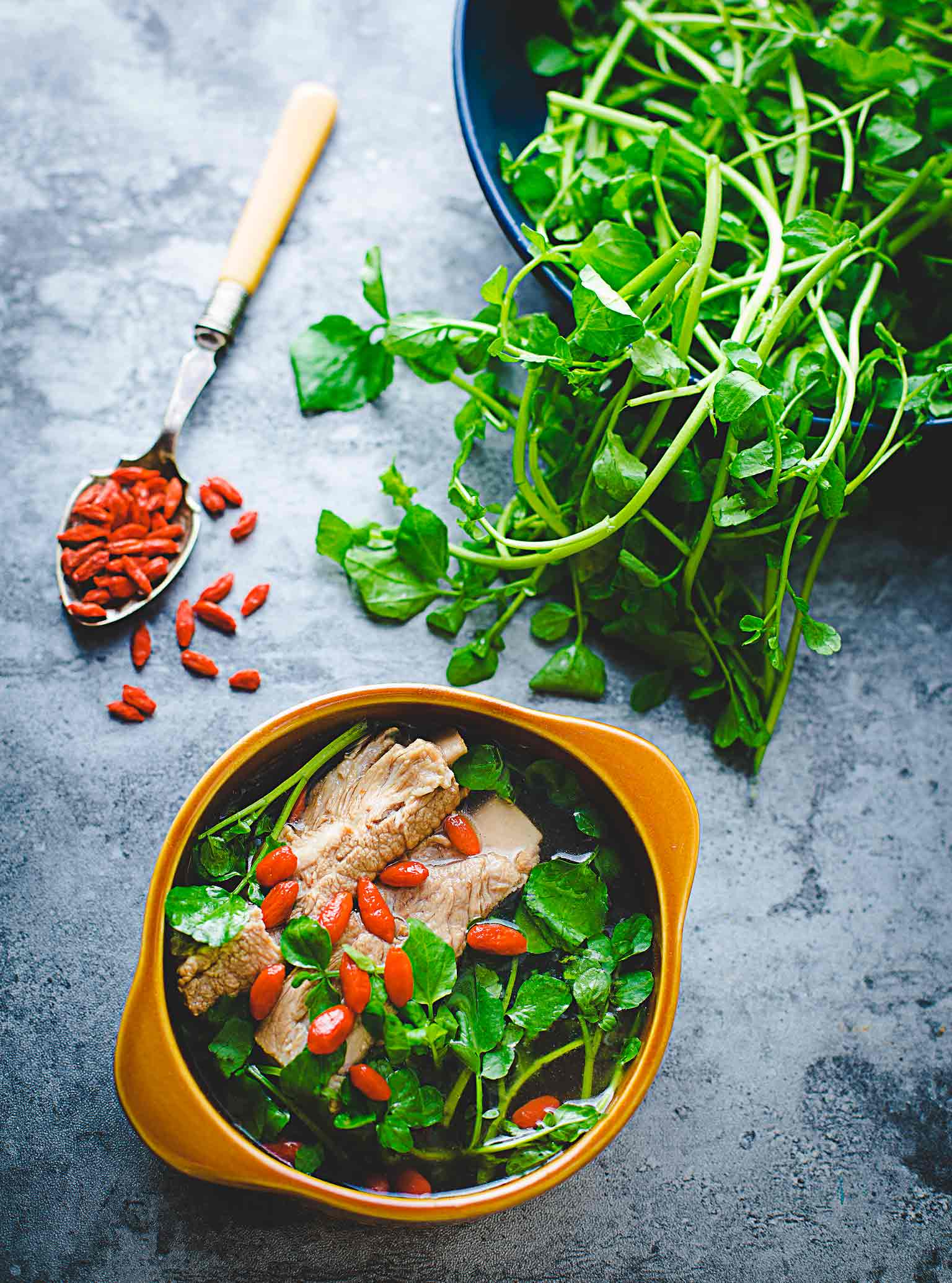 Watercress And Goji Berry Pork Rib Soup Cooking With Lei